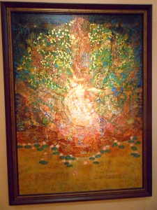 A painting by Mathasit Addok that wants to capture the spirit of Buddhism using colors and shapes.